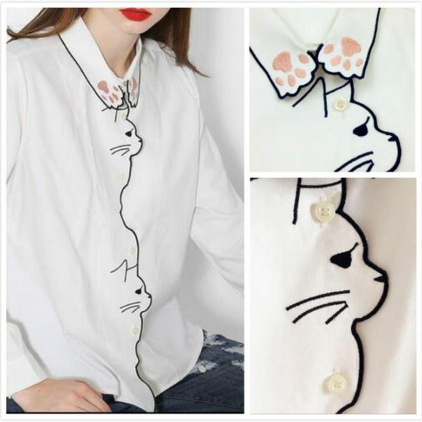 Free shipping cat embroidered Pure color long sleeve blouse shirt #354